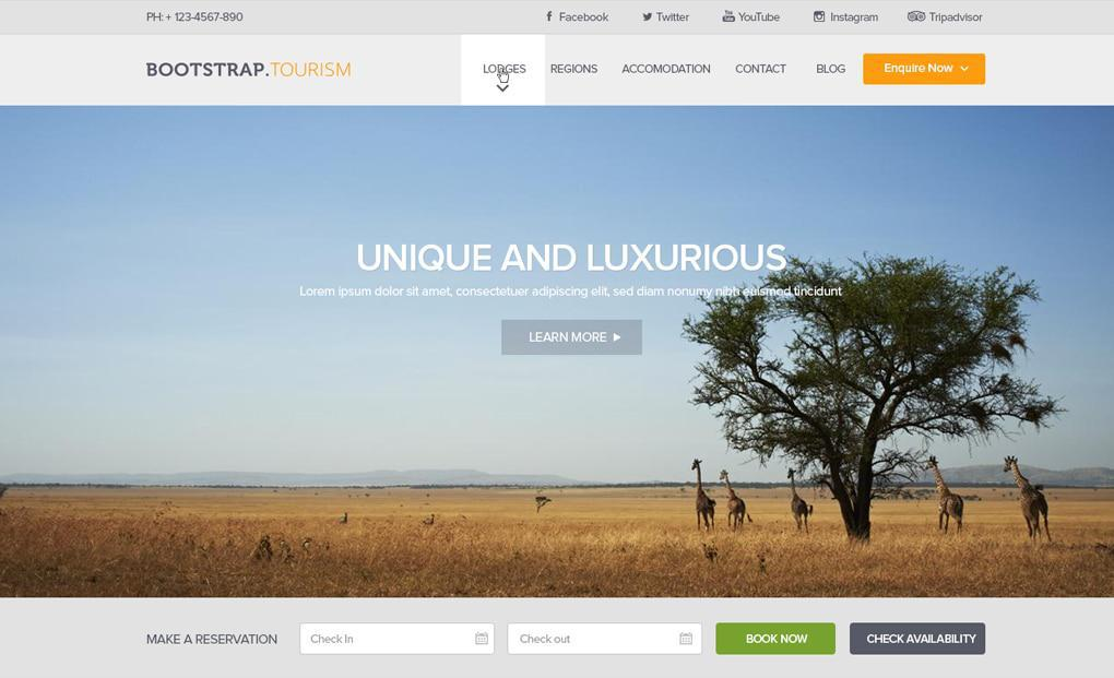 accommodation website template 3