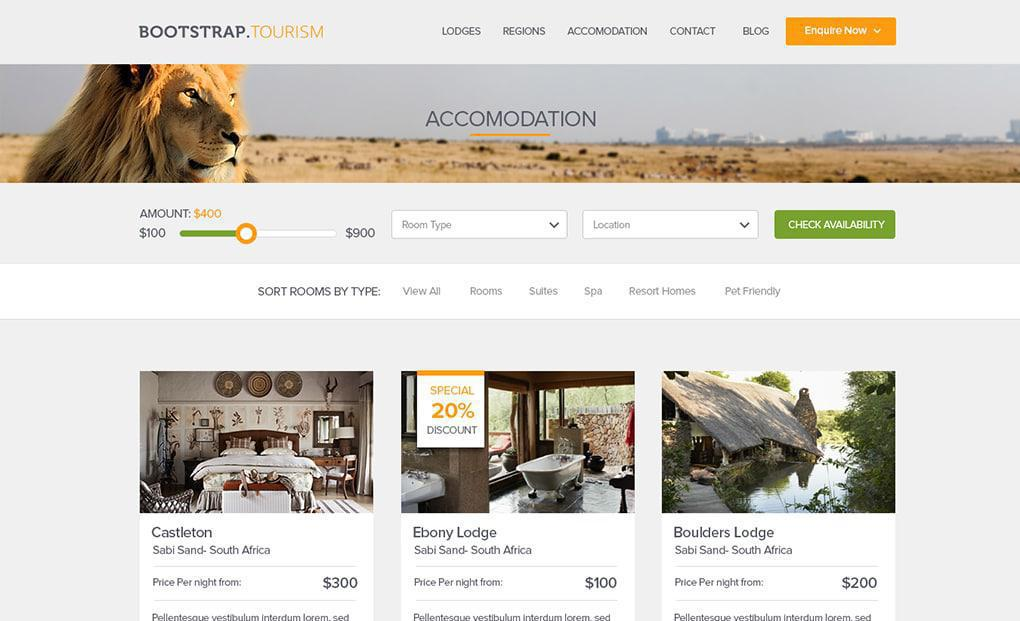 accommodation website template 4