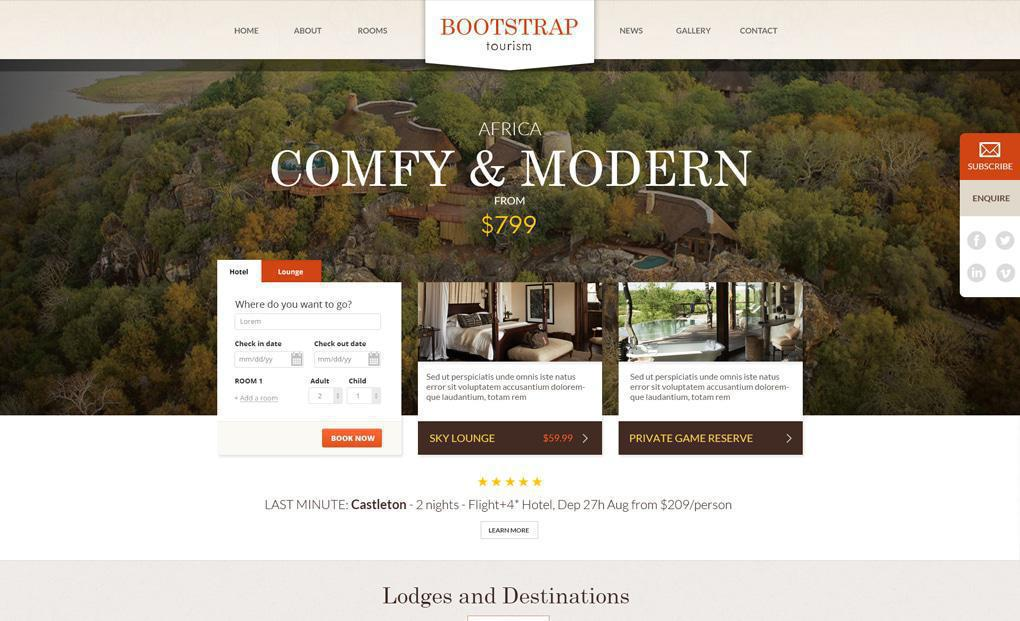 accommodation website template 5