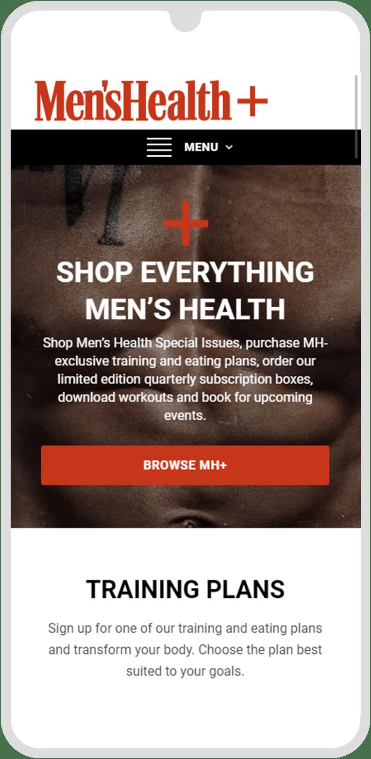 Men's Health Plus Mobile Homepage